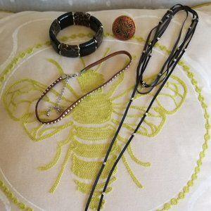 Jewelry - Jewelry Bundle-Leather Chokers, Ring, Bracelet